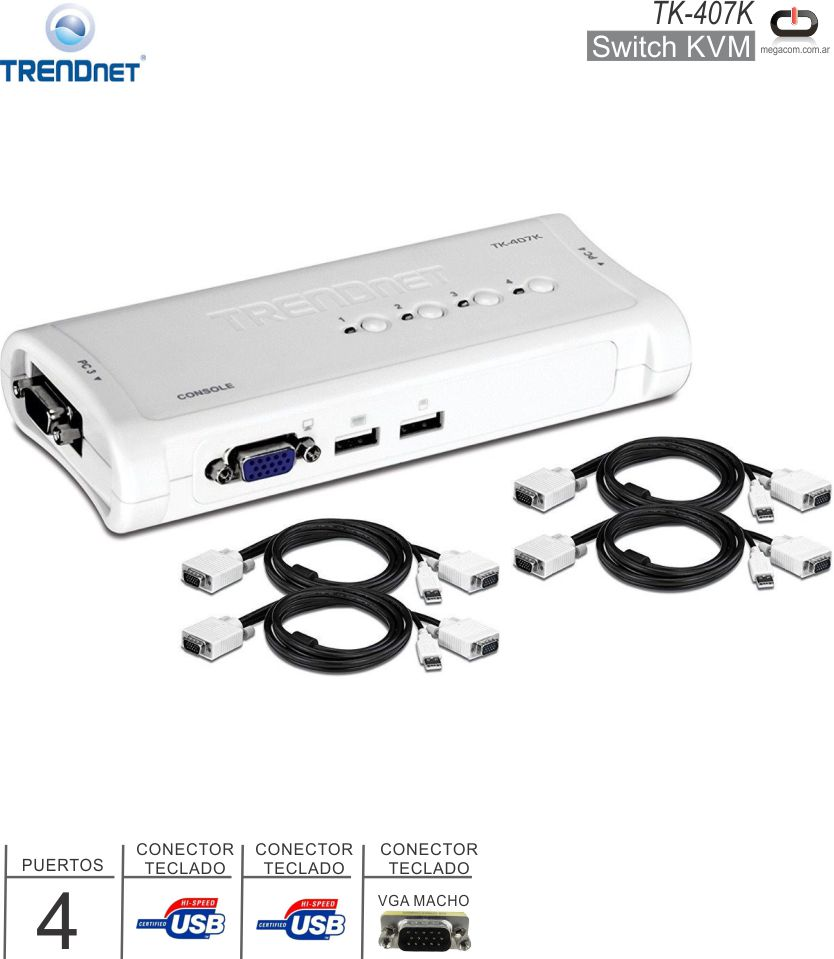 SWITCH KVM USB 04 P TRENDNET TK-407K C/CABLES