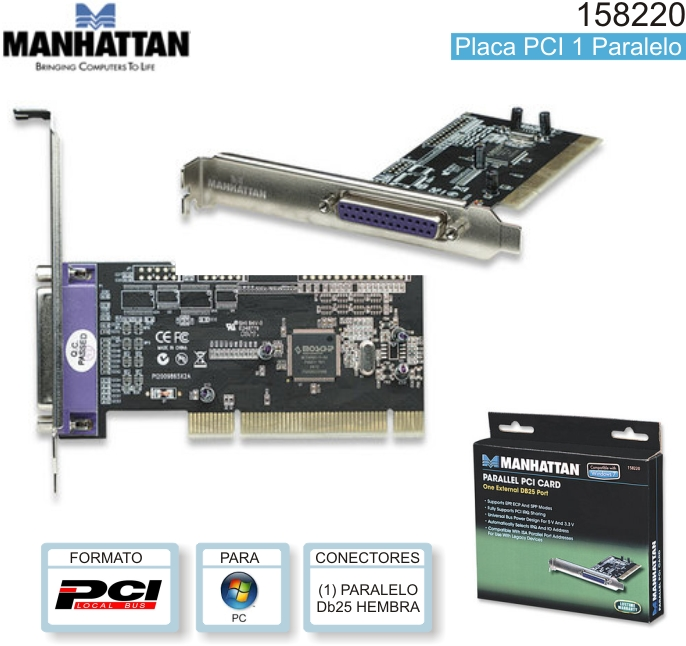 Placa PCI MANHATTAN 158220 1 PARALELO