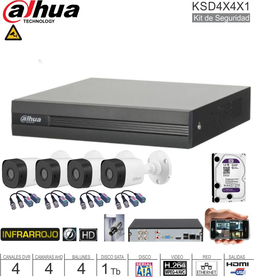 Kit Seguridad DAHUA 4Can 4Cam 1Tb
