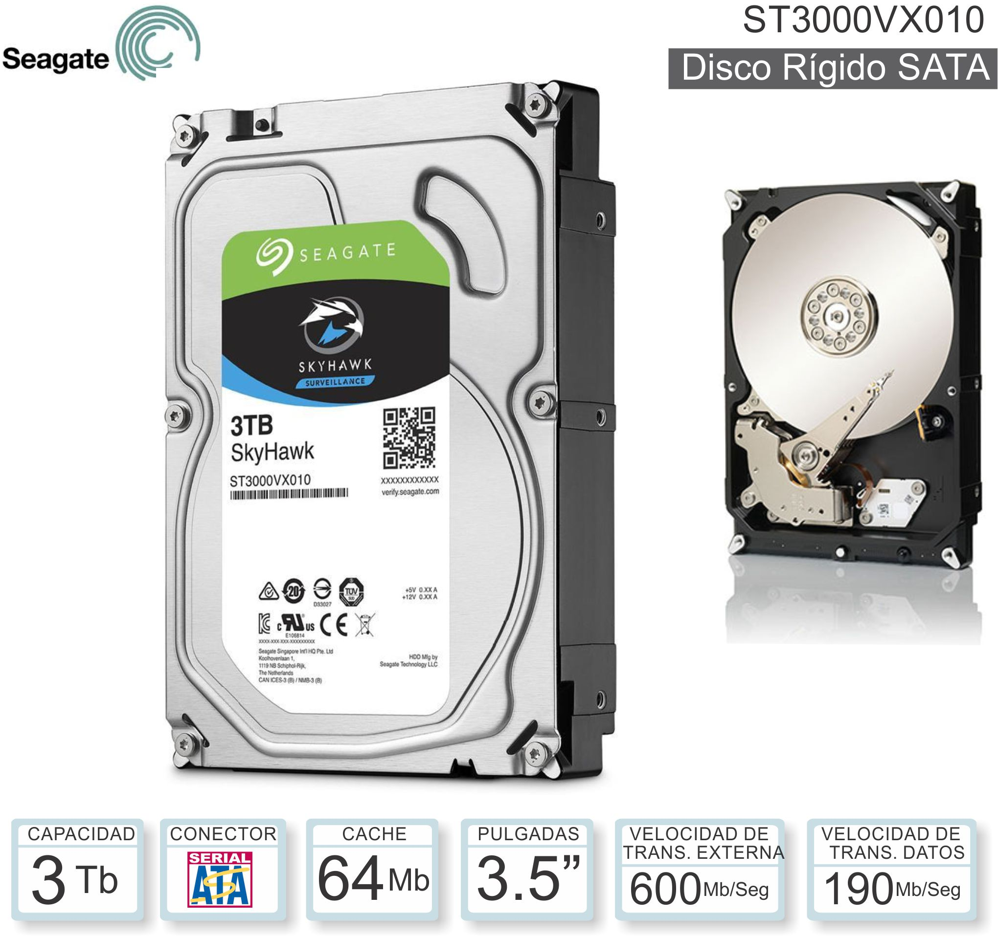 DISCO 3.5 SATA 3 TB SEAGATE BARRACU