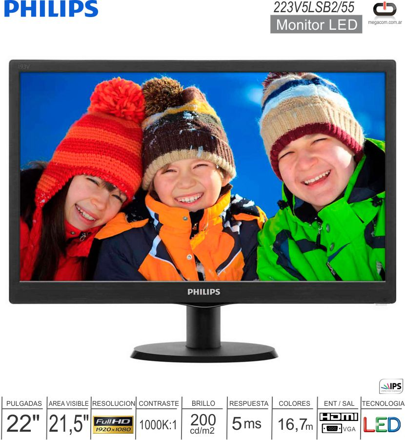 Monitor LED 22 FHD PHILIPS 223V5LSB2/55 HDMI