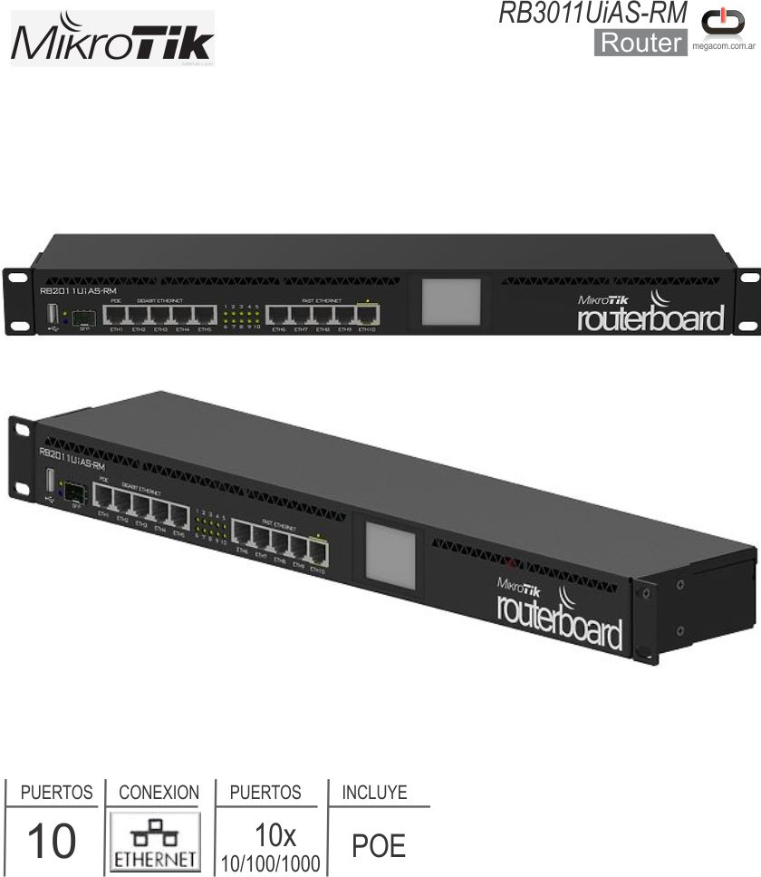 Router 10P MICROTIK RB3011UiAS-RM
