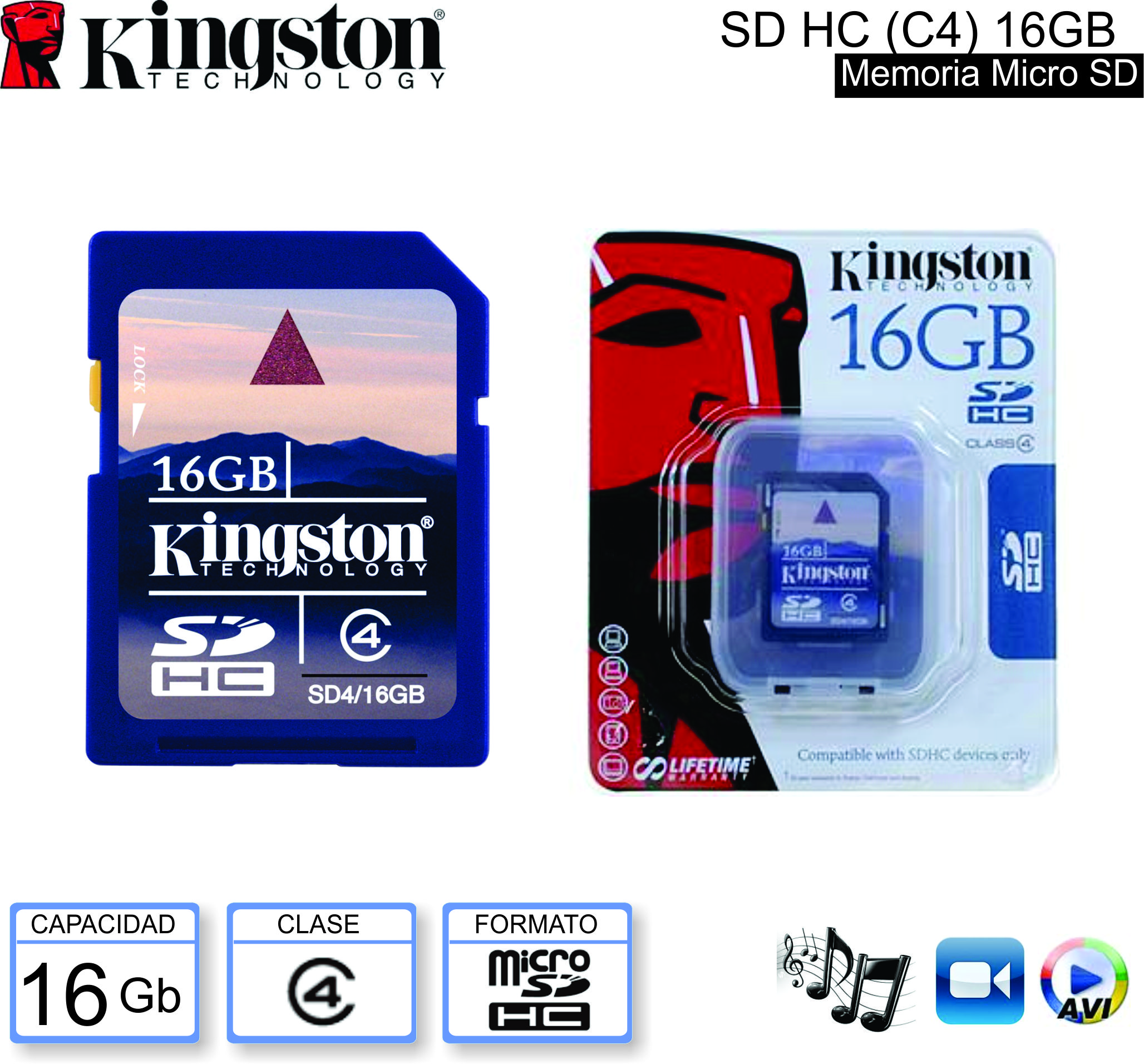 Mem SDHC C04 16Gb KINGSTON