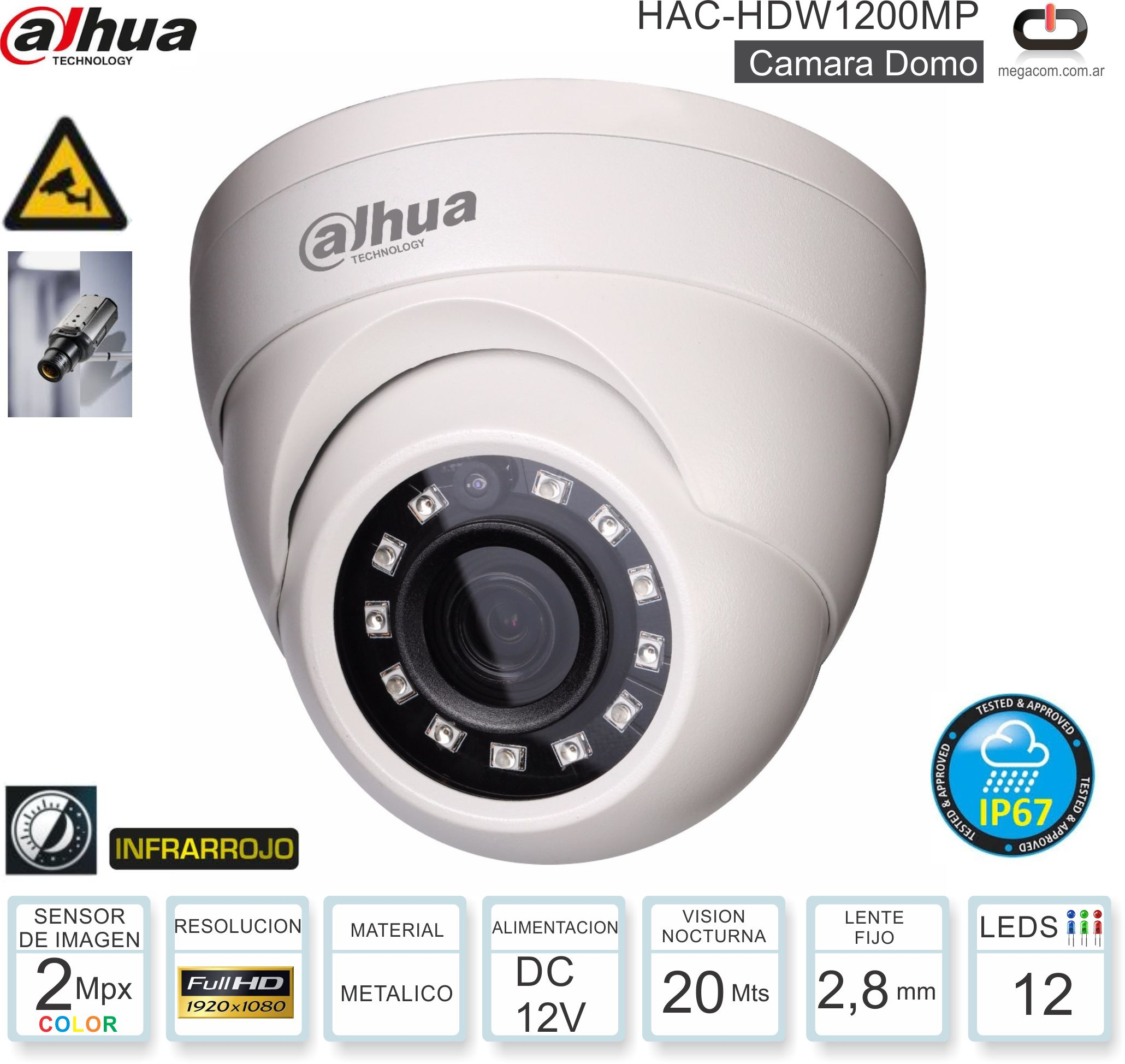Cam Domo 2Mp Met DAHUA HAC-HDW1200MP