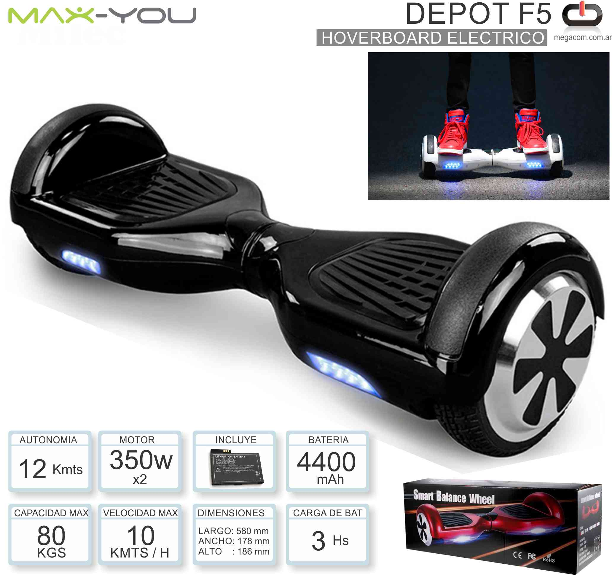 Hoverboard Electrico MAXYOU DEPOT F5 Negro