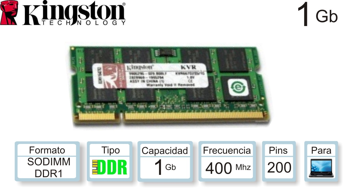Sodimm DDR1 01Gb 0400 1.50v KINGSTON
