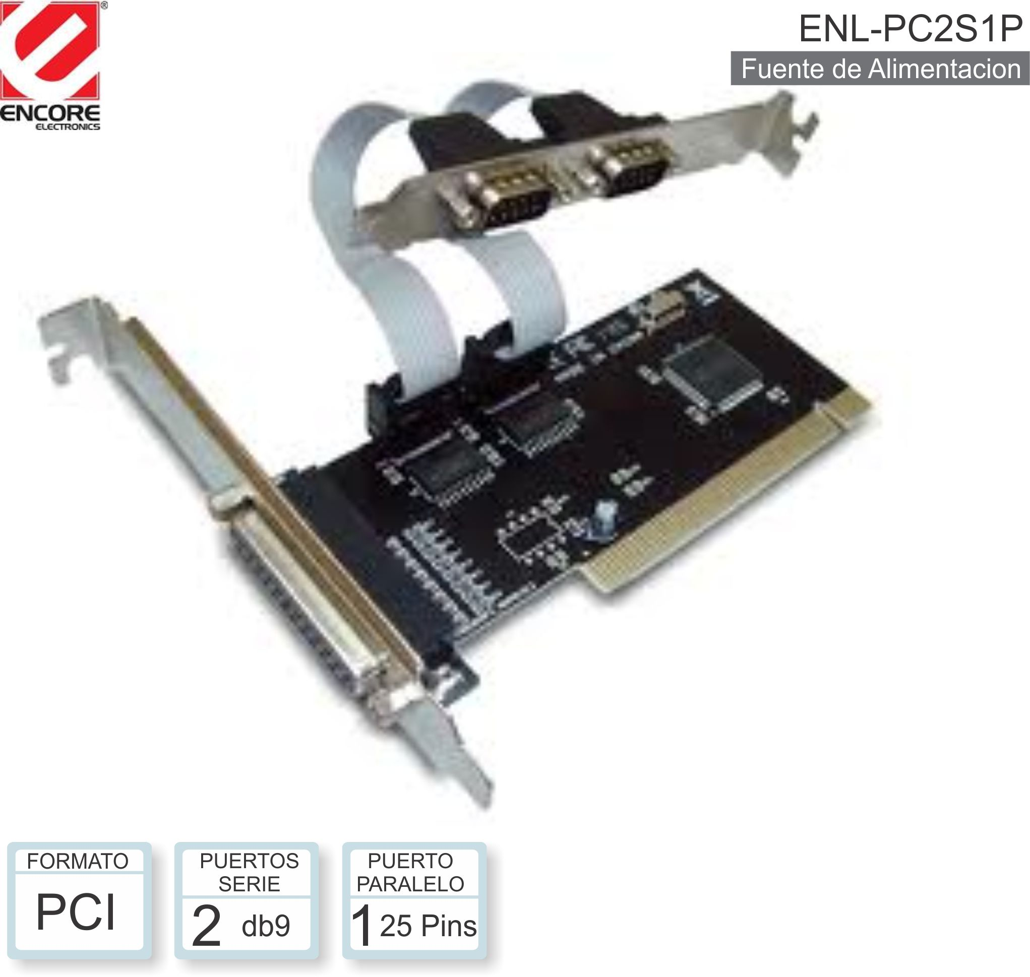 Placa PCI  2 SERIEPLACA  + 1 LPT ENCORE ENL-PC2S1P