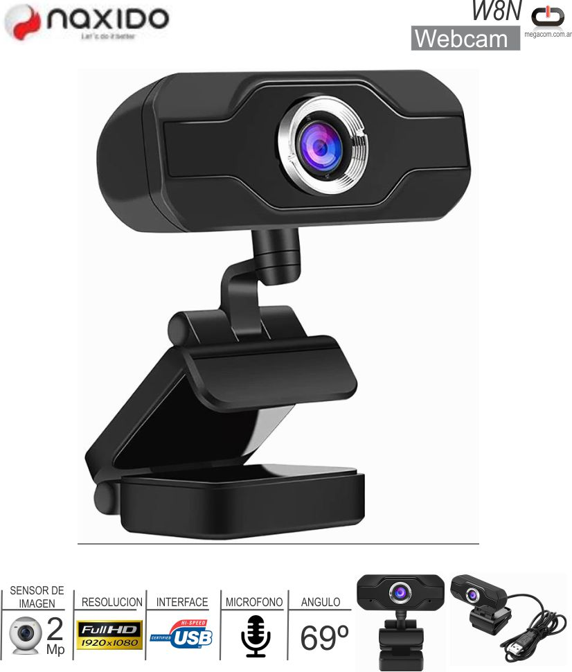 Webcam NAXIDO W8N FHD 2Mp c/Microfono