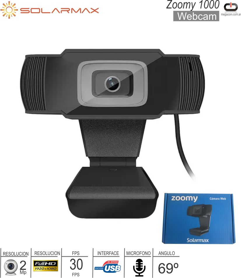 Webcam SOLARMAX Zoomy c/Microfono