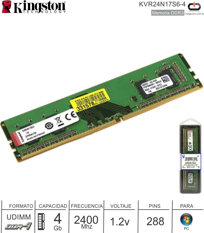 DDR4 04Gb 2400 1.20v KINGSTON KVR24N17S6-4