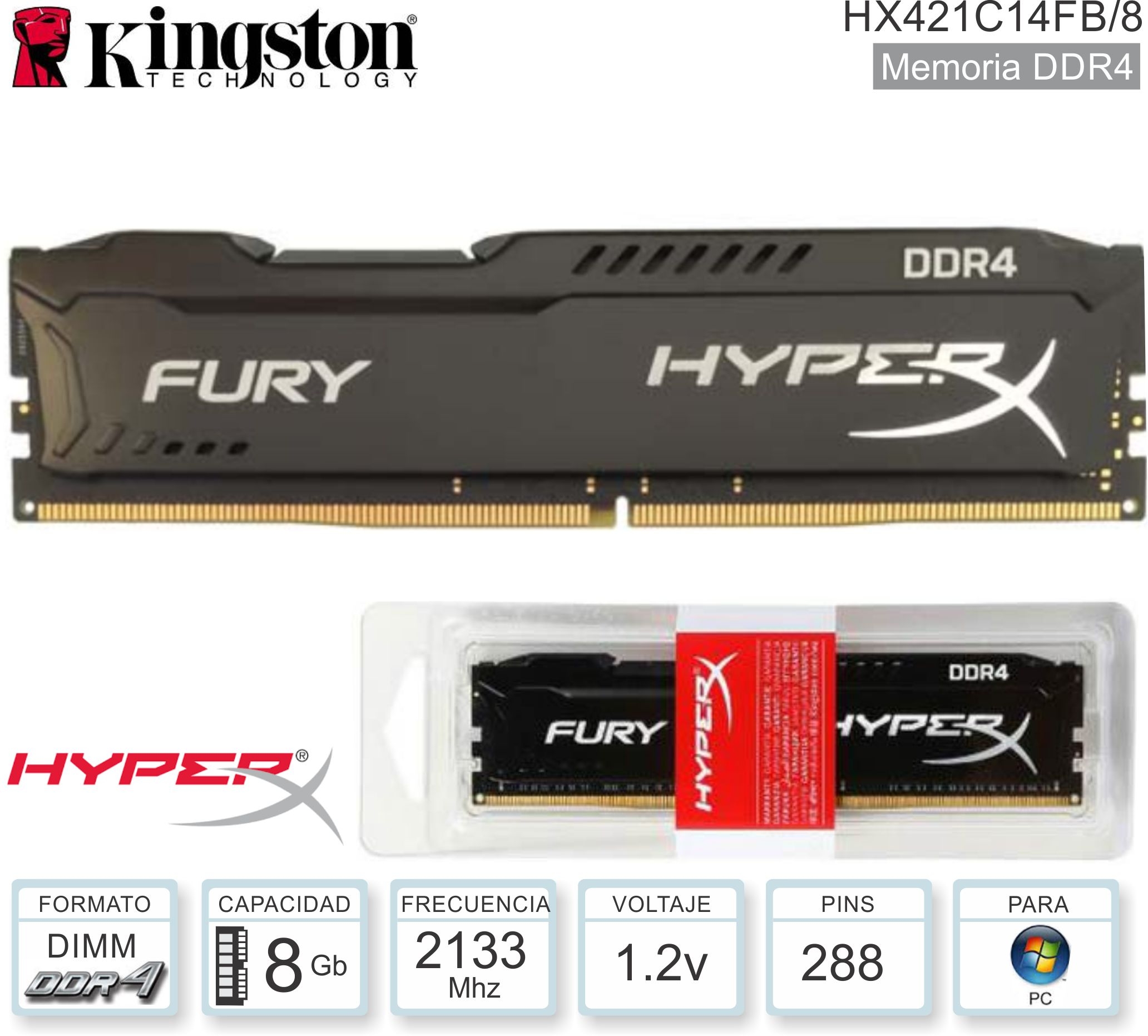 DDR4 08Gb 2133 1.20v KINGSTON HXF HX421C14FB/8