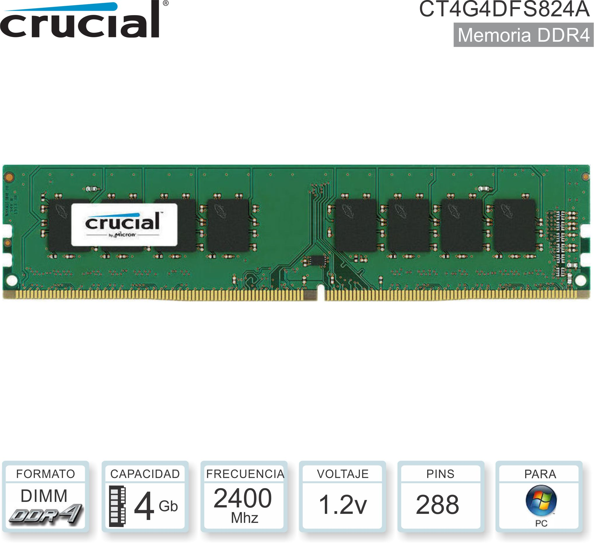DDR4 04Gb 2400 1.20v CRUCIAL CT4G4DFS824A