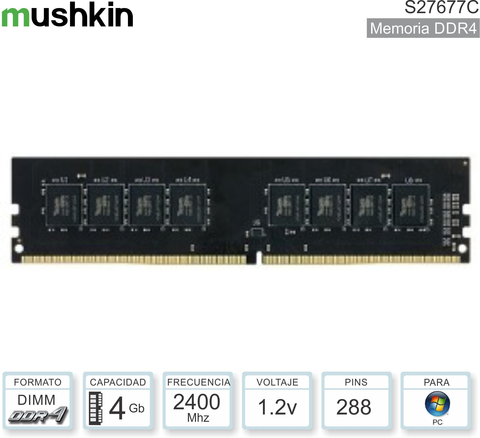 DDR4 04Gb 2400 1.20v MUSHKIN MES4U240HF