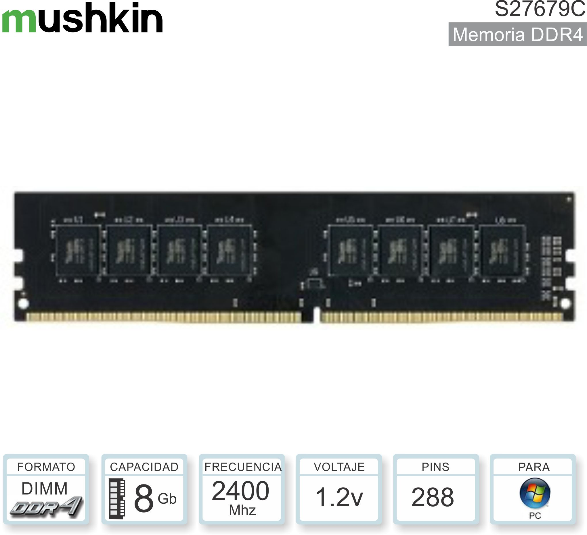 DDR4 08Gb 2400 1.20v MUSHKIN C27679C