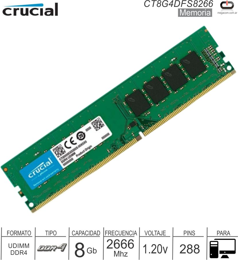 DDR4 08GB 2666 1.20v CRUCIAL CT8G4DFS8266