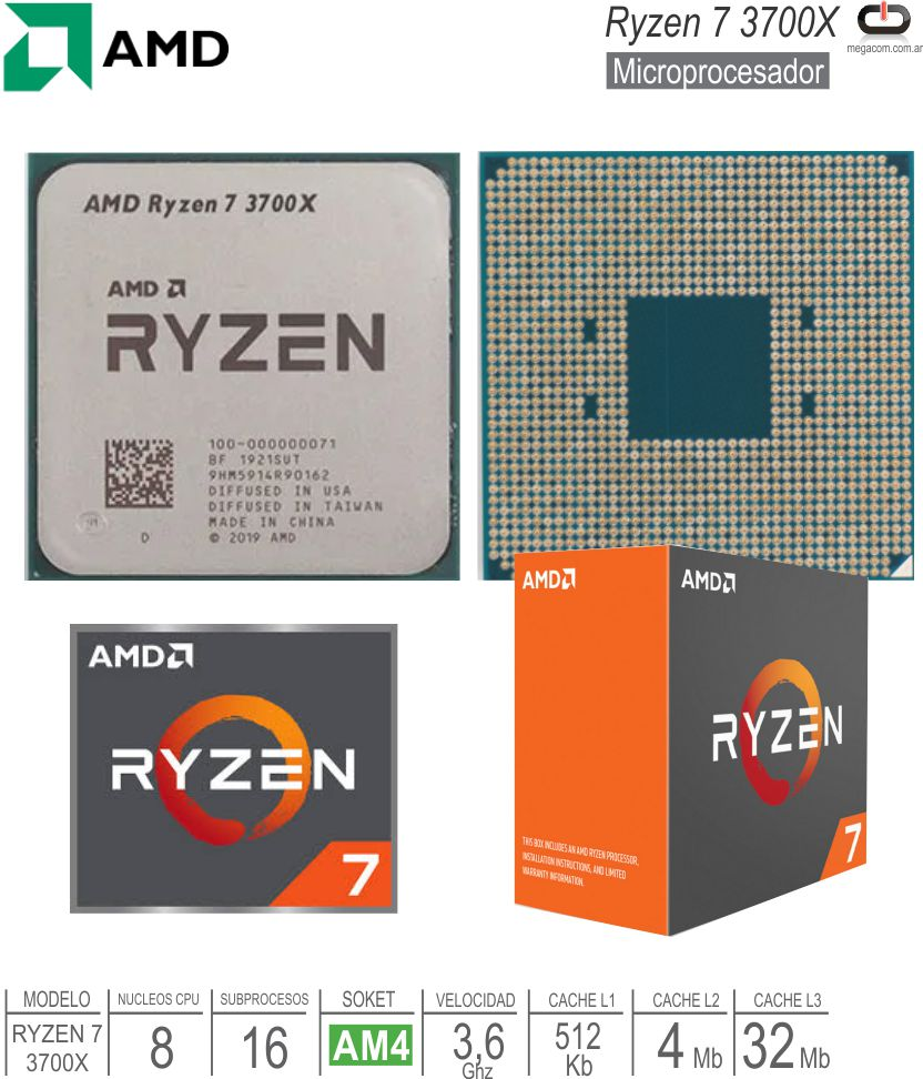 Procesador AMD AM4 Ryzen 7 3700X Sin Video