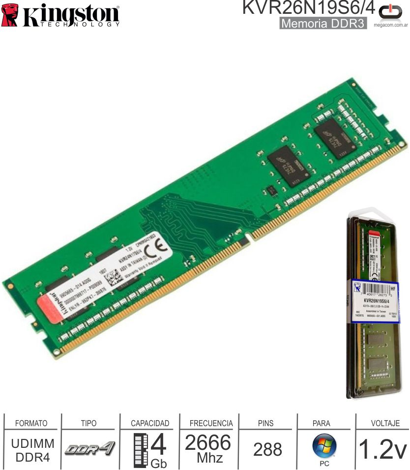 DDR4 04Gb 2666 1.20v KINGSTON KVR26N19S6/4