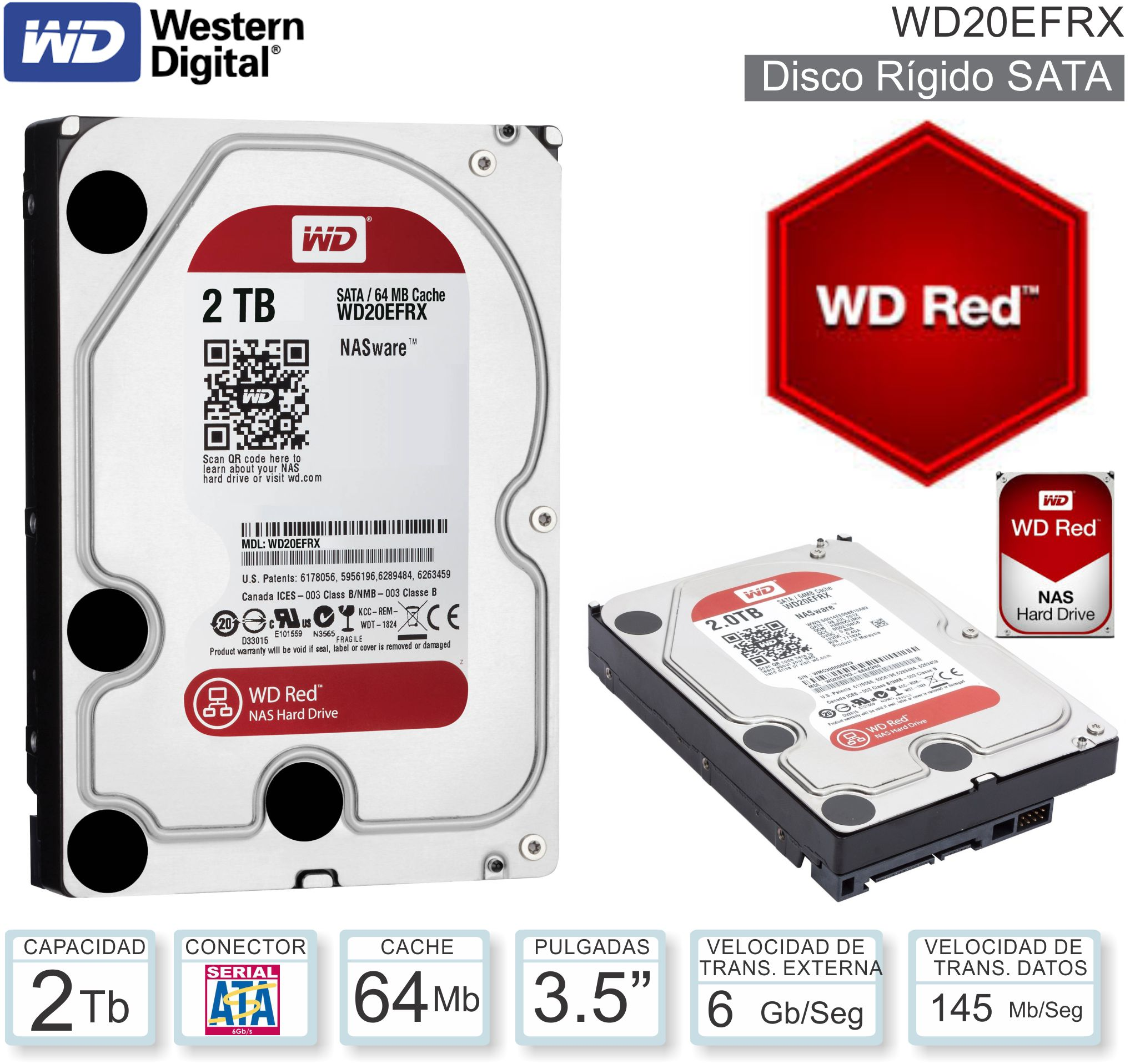 DISCO 3.5 SATA 2 TB WD RED WD20EFRX