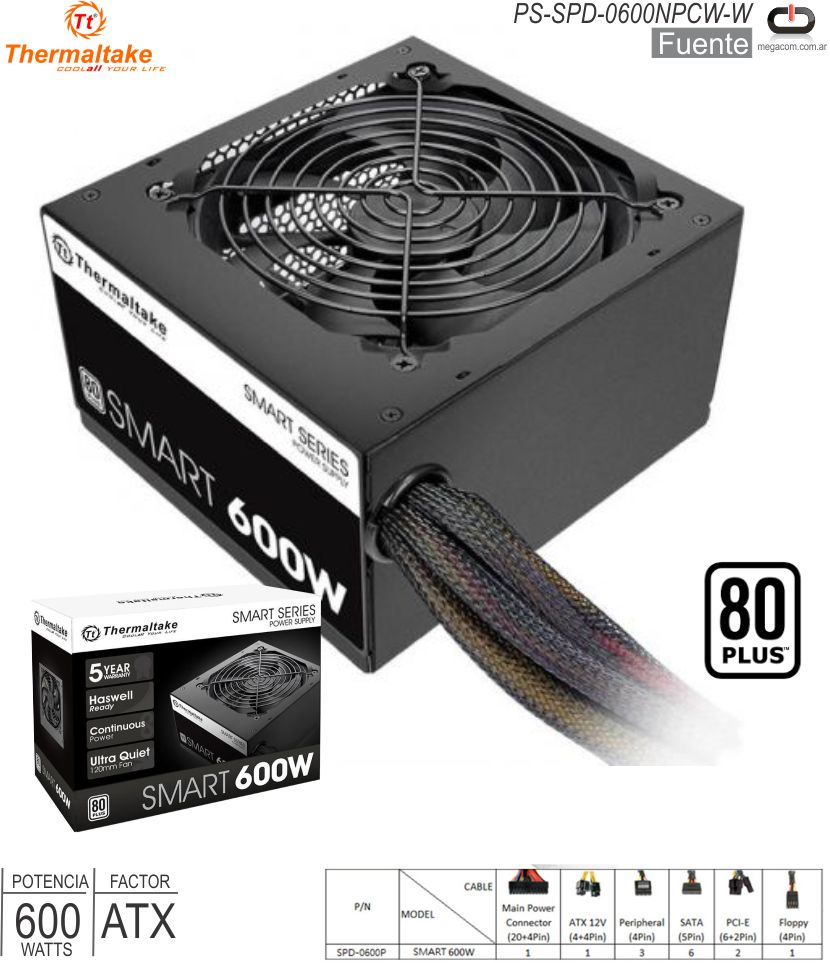 Fuente ATX 0600W THERMALTAKE Smart PS-SPD-0600NPCW