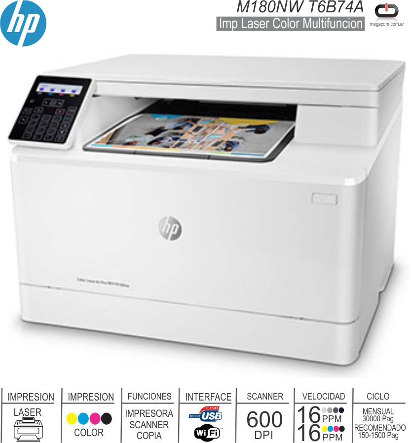 Imp Laser MF Color HP M180NW T6B74A