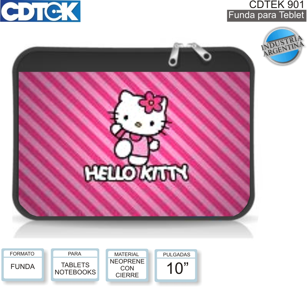 FUNDA 10P CDTEK 901 NOTEBOOK HELLO KITTY