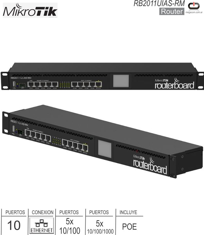 Router 10P MICROTIK RB2011UiAS-RM