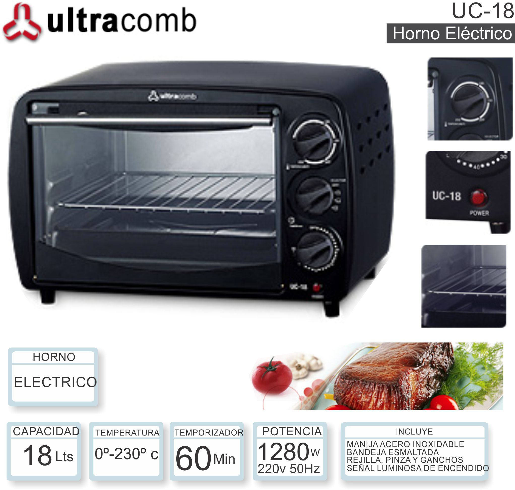 Horno Electrico 18 Lts ULTRACOMB UC-18