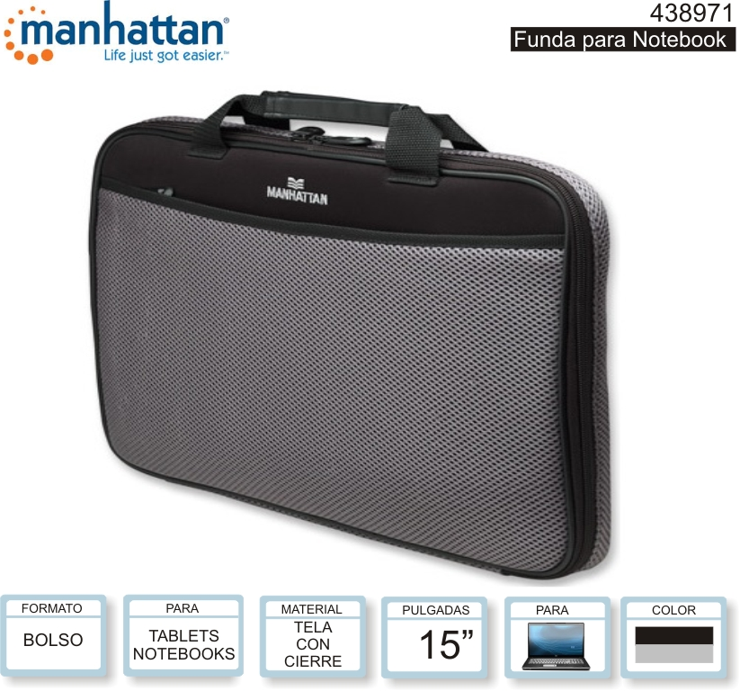 MANHATTAN 438971 FUNDA NOTEBOOK 15 C/BOLSILLO