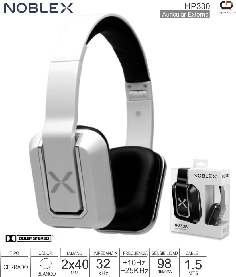 Auricular ML ON NOBLEX HP330W Blanco