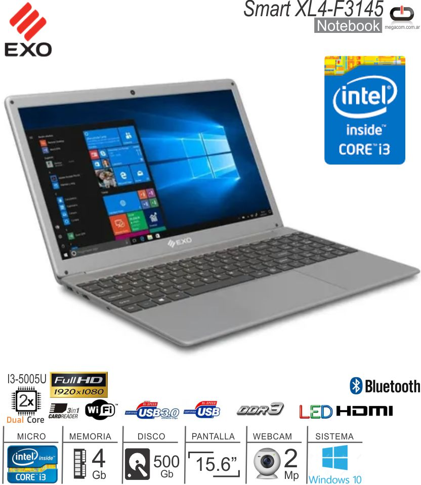 Notebook 15 EXO Smart XL4-F3145 I3-5005U/4/500/DOS