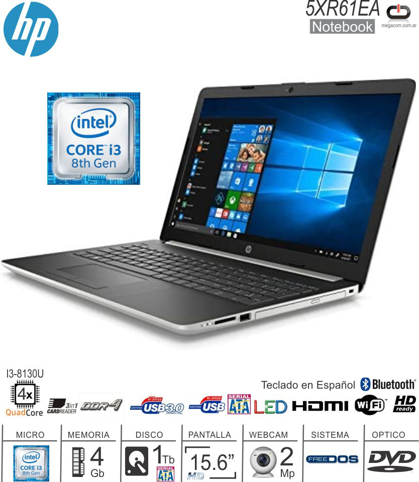 Notebook 15 HP 5XR61EA I3-8130U/4/1/DVD/DOS