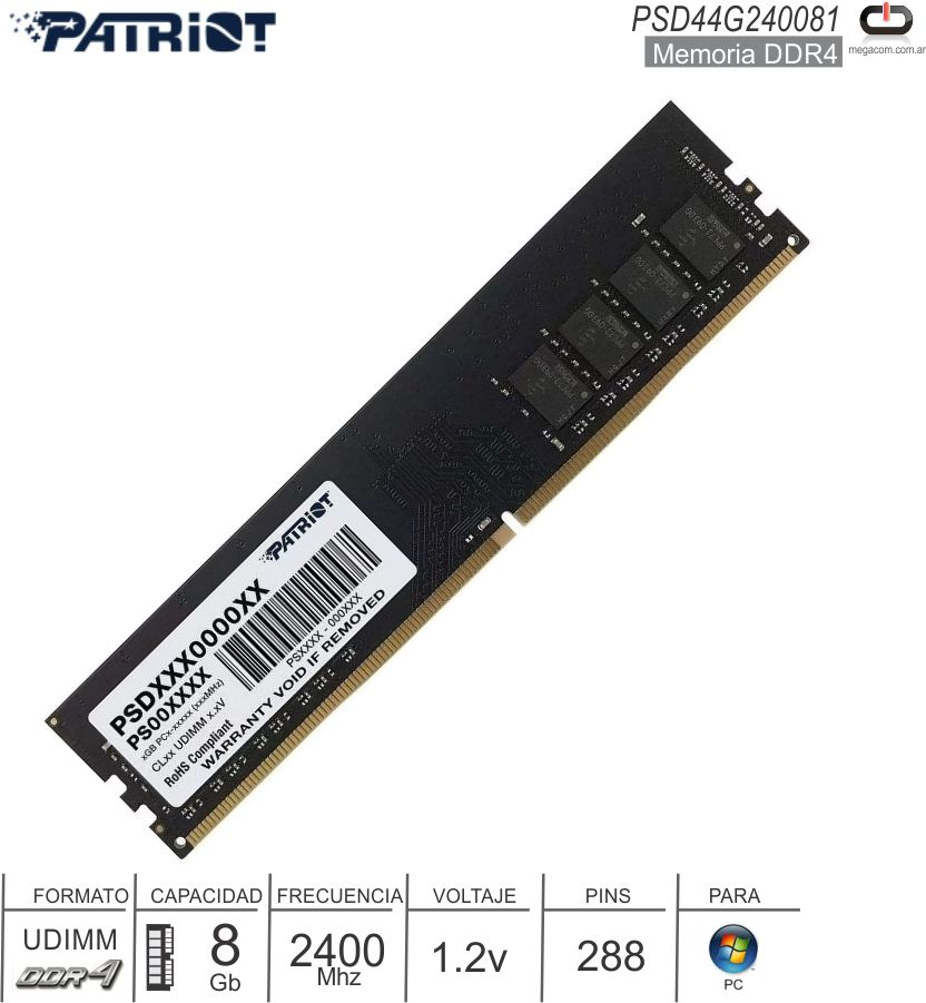 DDR4 08Gb 2400 1.20v PATRIOT PSD44G240081