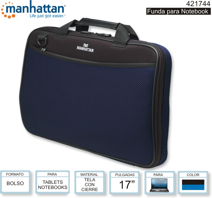 MANHATTAN 421744 FUNDA NOTEBOOK 17 C/BOLSILLO