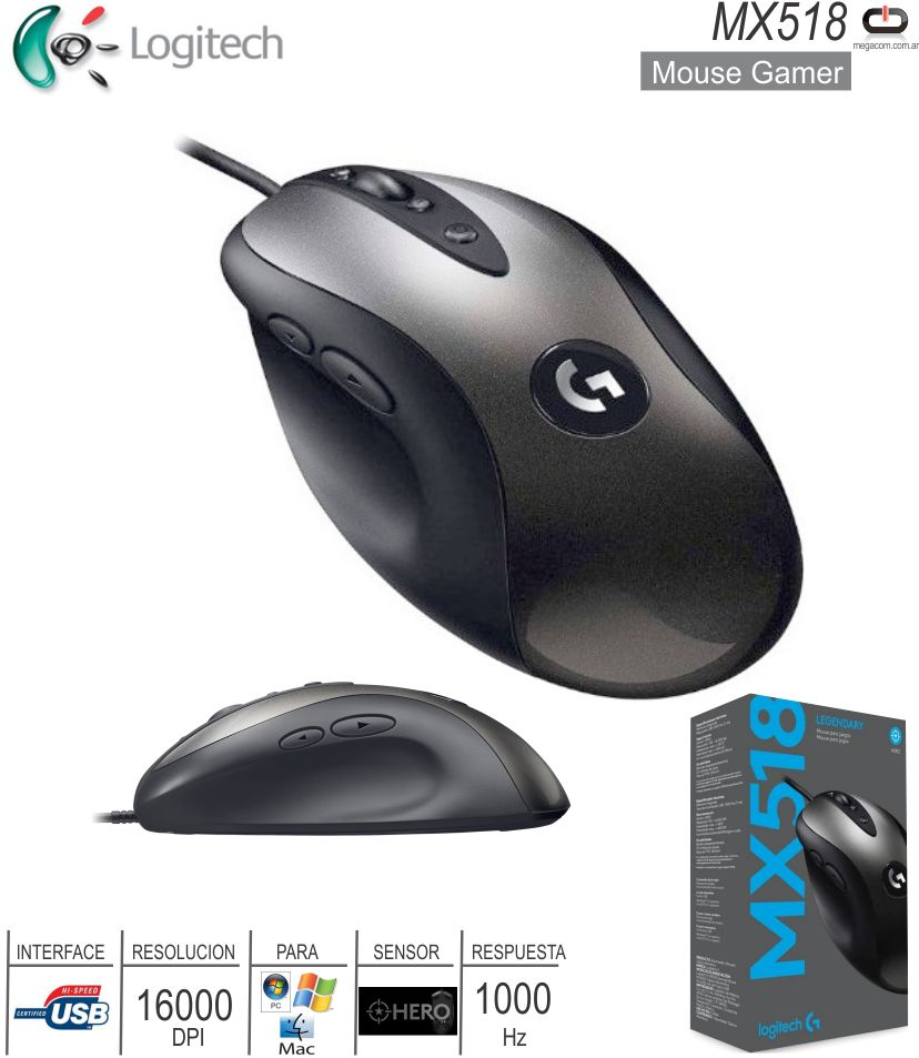 Mouse Gamer USB LOGITECH MX518