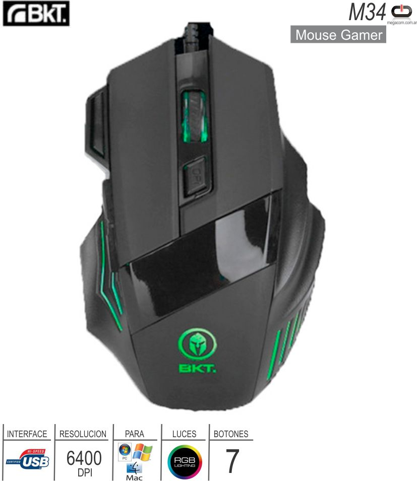 Mouse Gamer USB BKT M34