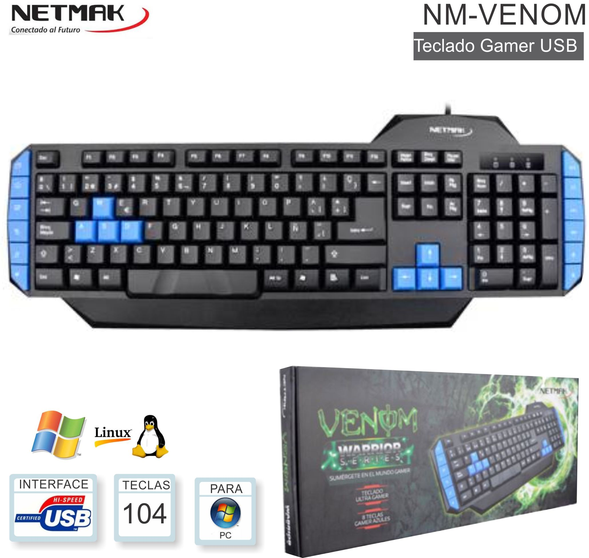 Teclado Gamer USB NETMAK NM-VENOM