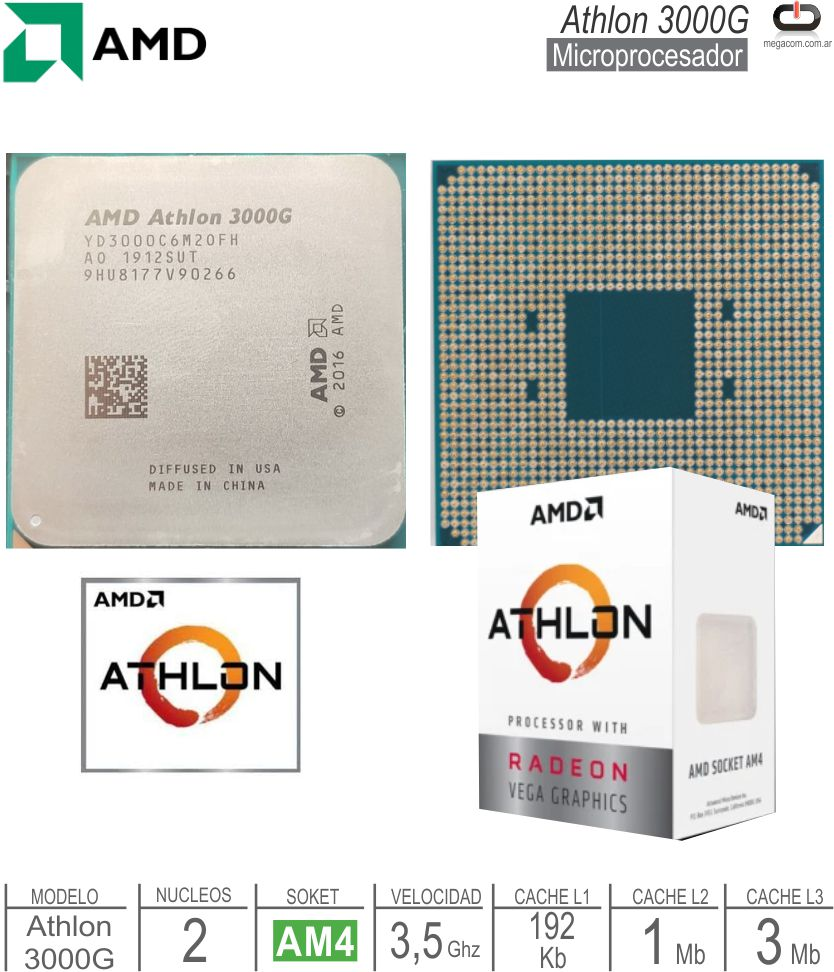 Procesador AMD AM4 Athlon 3000G