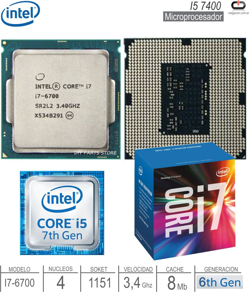 Procesador INTEL 1151 Core I7 6700 6G