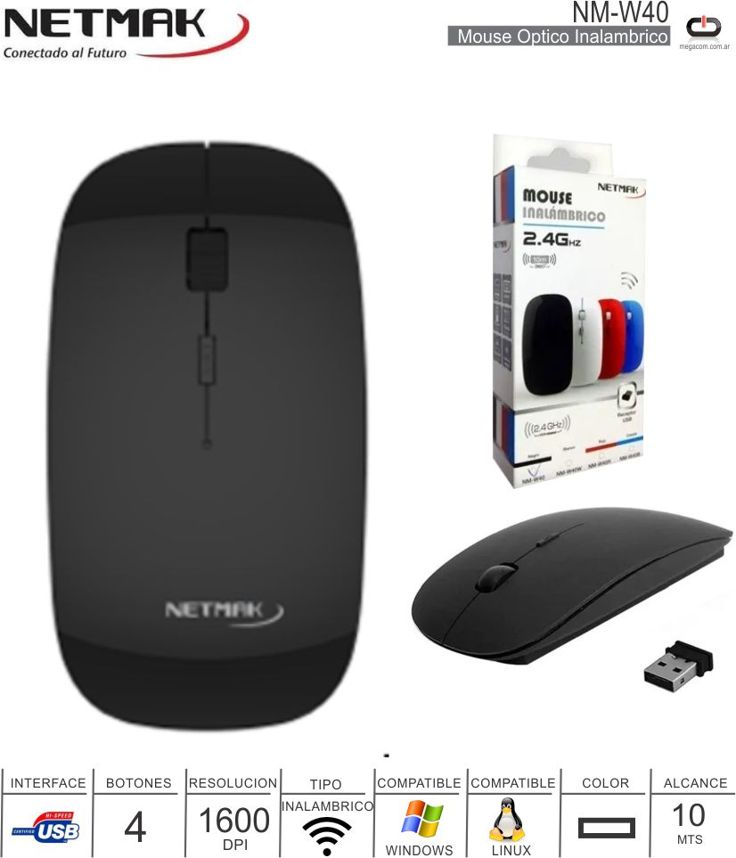 Mouse Inalambrico NETMAK NM-W40