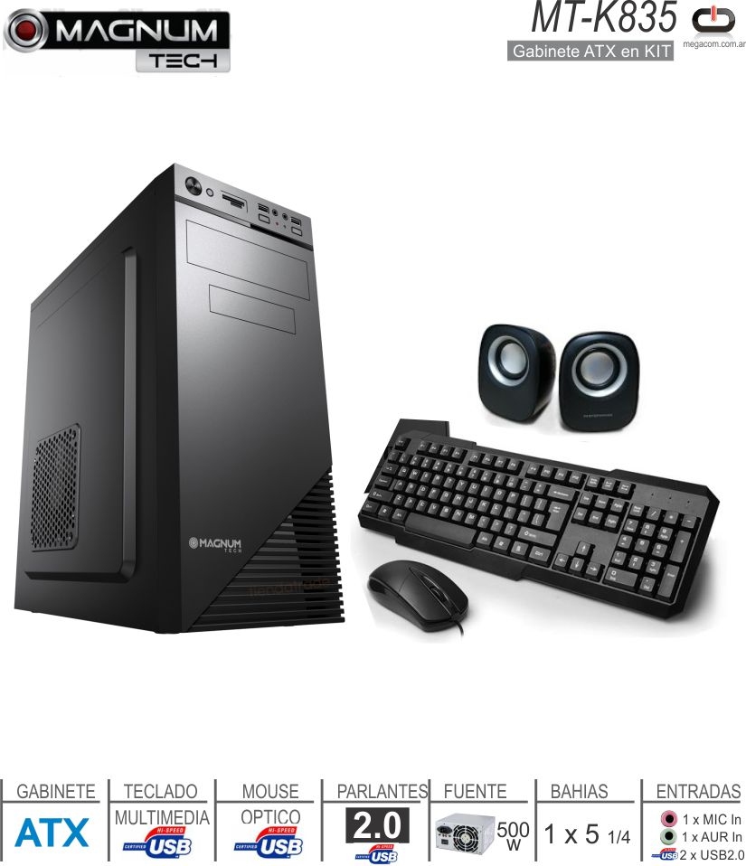 Gabinete KIT MAGNUM TECH MT-K835 (G/F/T/P/M)