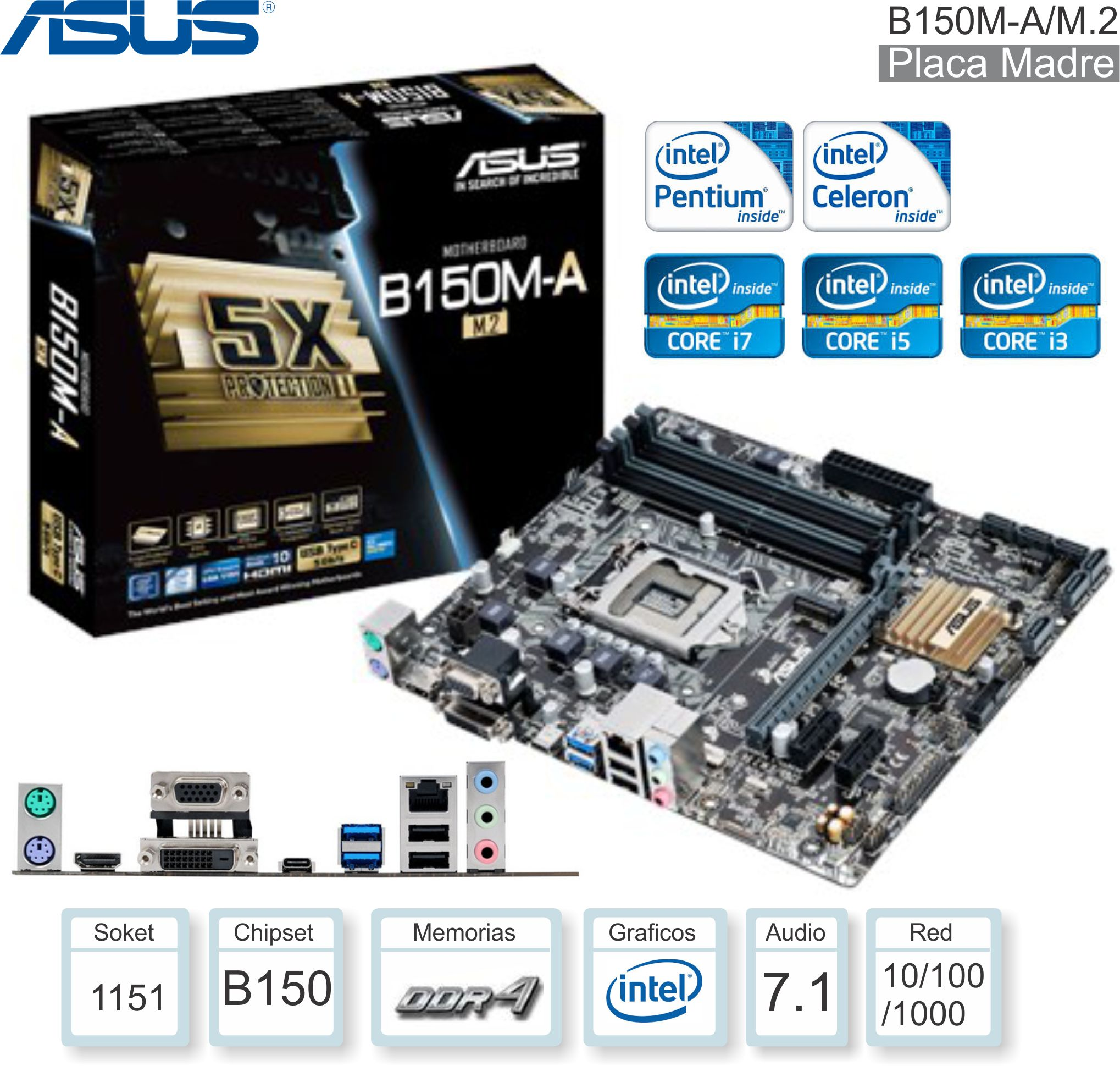 Mother INTEL 1151 7G ASUS B150M-A/M.2