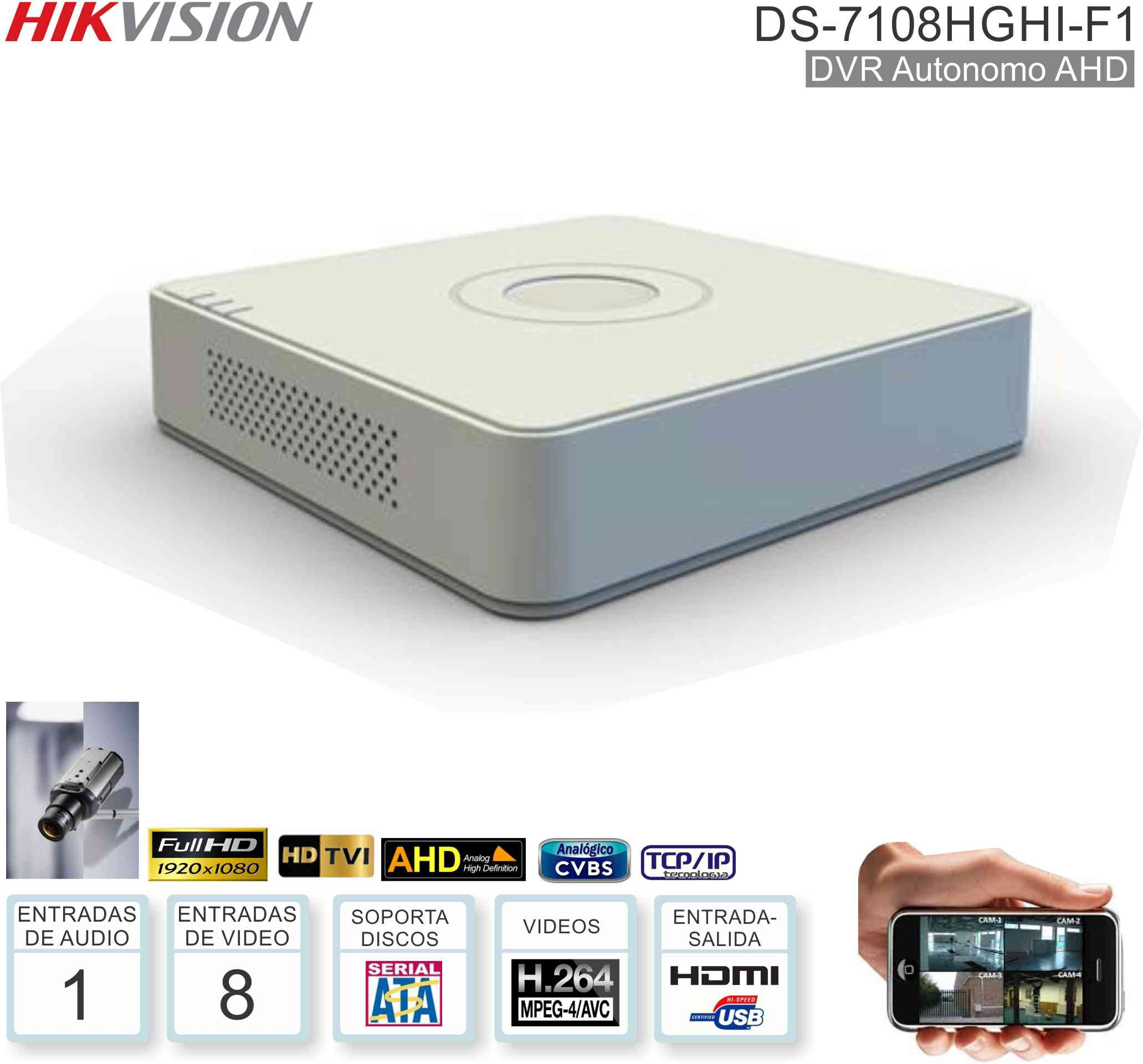 DVR 08 Can HIKVISION DS-7108HGHI-F1/N