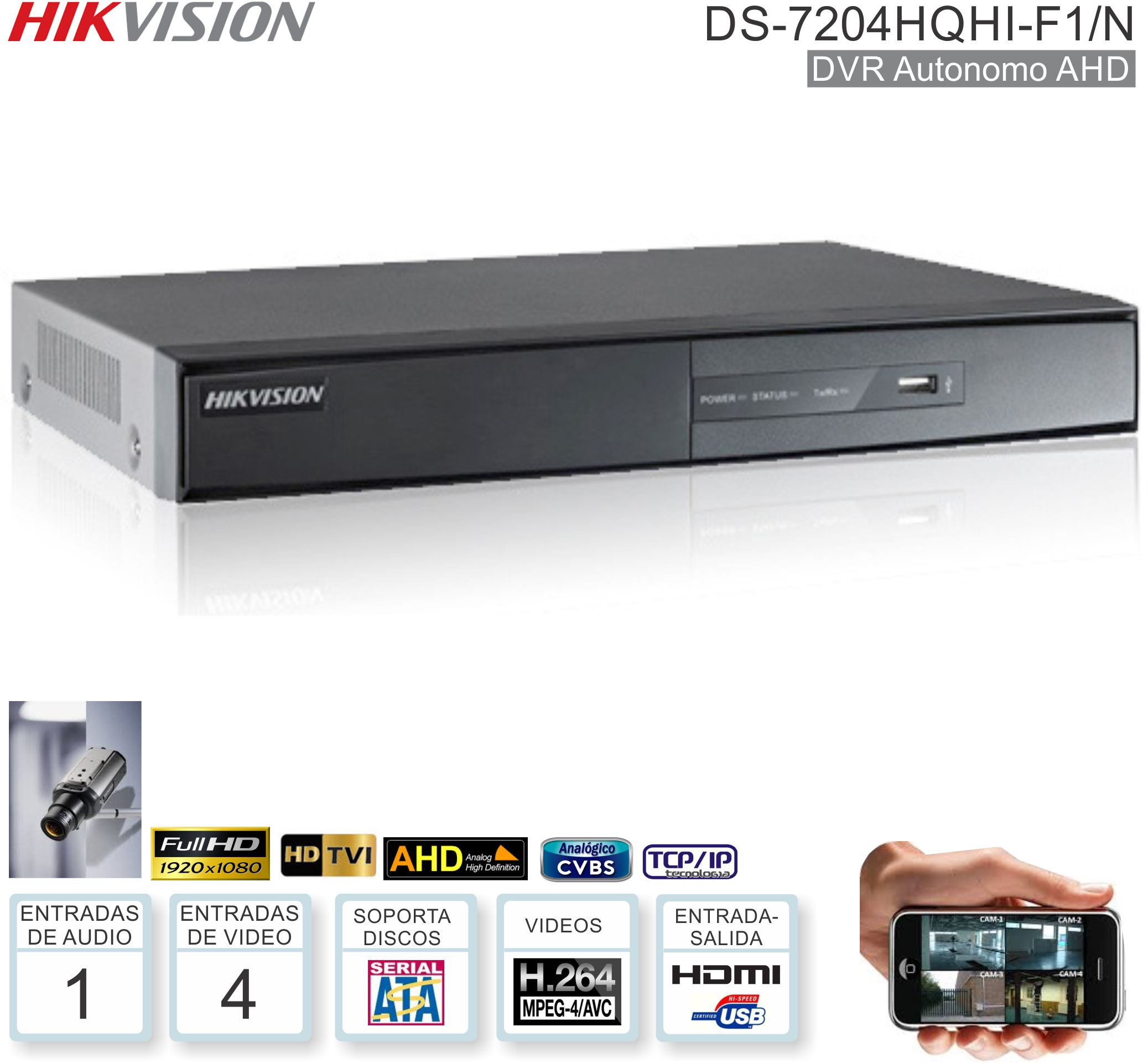 DVR 04 Can HIKVISION DS-7204HQHI-F1/N