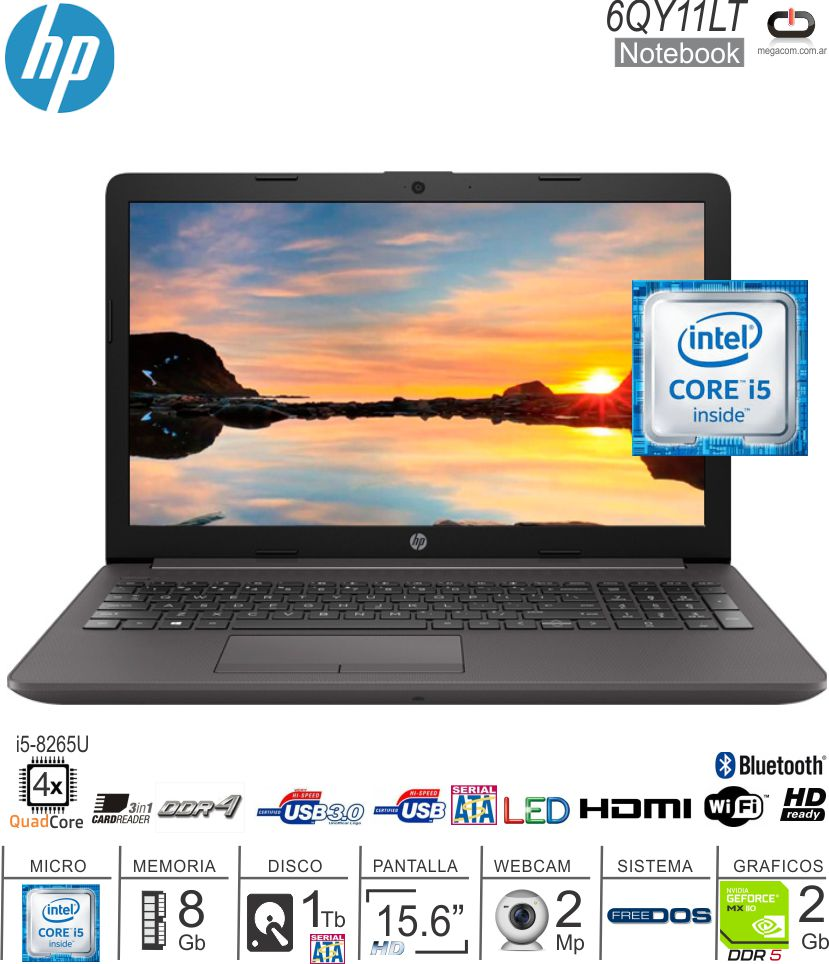 Notebook 15 HP 6QY11LT I5-8265U/8/1/MX110-2G/W10