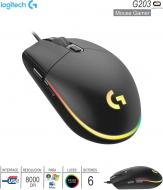 Mouse Gamer USB LOGITECH G203 Lightsync Black