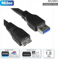 Cable USB 3.0 M - MicroUSB 3.0 M 01.8M MILEC MUSB