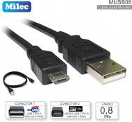 Cable USB M - MicroUSB M 00.8M MILEC MUSB08